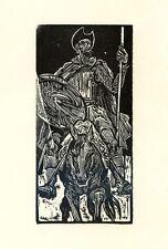 Don Quixote, Quijote, Ex libris Bookplate by Nagy Laszlo, Hungary