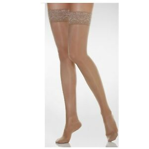 Sheer Hold Up Stockings Lace Top Silicone Strap Glossy Shine Stay up 15 denier