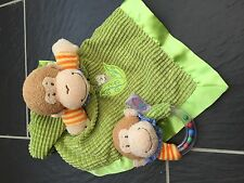 MARY MEYER GREEN MONKEY BABY HAND HELD RATTLE & SNUGGLE BLANKET COMFORTER CUTE