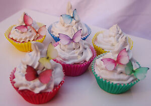 Butterflies Princess 30pc Cake Topper Mini Rainbow Rice Paper Edible Butterfly