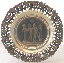 EGYPTIAN PIERCED EDGE COPPER BRASS SILVER TONE METAL TRAY INLAID IMAGE