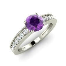 0.87 Ct Natural Amethyst Engagement Ring in Solid 14k White Gold with SI Diamond