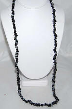 "Jasper Stone Long 34"" Necklace Black & Gray Marbleized Chunky Cut"