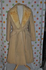 Vintage FUR COLLAR  Chic tan MID CALF WOOL  DRESS  COAT WOMENS 8  CHIC STYLE