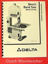 """DELTA 28-180 8"""" Bench Band Saw Instruction & Parts Manual 0204"""