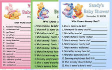 12 BABY POOH BABY SHOWER FAVORS GAME CARDS