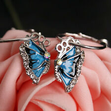 1Pair Stylish Blue Crystal Rhinestone Enamel Butterfly Dangle Hoop Earrings New