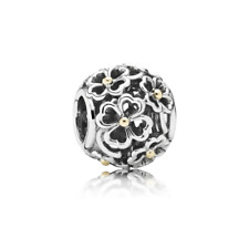 "Genuine Pandora two-tone ""Evening Floral Charm"" Openwork - 791373 - retired"