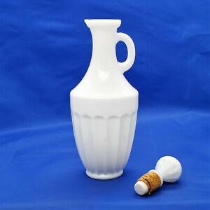 Vintage AVON White Milk Glass Cruet Bath Oil Perfume Bottle w Cork Stopper Empty