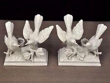 Porcelain Birds Figurines Candle Holders Set of 2