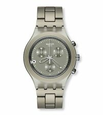 New Swatch Irony Full Blooded Smoky Sand Chronograph Date Watch SVCG4000AG $160