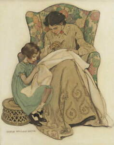 Jessie Willcox Smith The Sewing Lesson Poster Reproduction Giclee Canvas Print