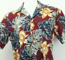 Hilo Hattie XL Hawaiian Shirt Maroon Dark Red Monstera Leaves Hibiscus SS Camp