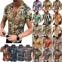Mens Casual Dress Shirts Short Sleeve Slim Fit Summer V Neck Blouse T-Shirt Tops