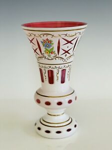 """Vintage MOSER Bohemian Hand Painted White Cut to Cranberry 10"""" Tall Vase"""