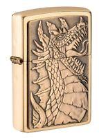Zippo Dragon Emblem Design Brushed Brass Windproof Pocket Lighter, 49297