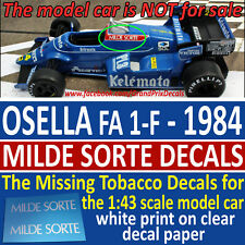 F1 Car Collection OSELLA FA 1-F MILDE SORTE Decals 1984 1:43 scale P. Ghinzani