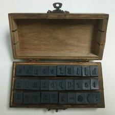 30pc Alphabet Letter Retro Uppercase Lowercase Wooden Rubber Stamp Set Craft