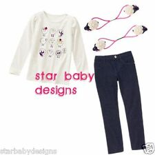 NWT Gymboree BUNDLED & BRIGHT Outfit Size 4 Sheep Tee,Top,Jeggings,Ponytail Hlde