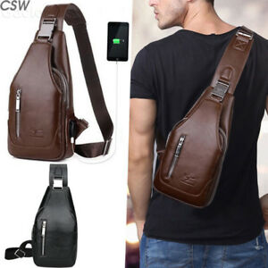 Small Leather Chest Bag Outdoor Travel Sport Shoulder Sling Backpack Body Pack