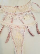 MYLA CREAM/PINK SEXY 1/4 CUP BRA SUSPENDER & THONG NWT+ AGENT PROVOCATEUR SACHET