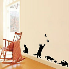 4 cute cats playing wall stickers kids room decorations