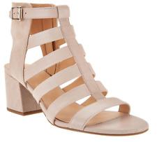 Franco Sarto Leather Multistrap Open Toe Sandals in Mesa, Beige, size 9M
