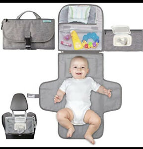 Kopi Baby Portable Changing Pad Unisex Solid Gray With Multiple Pockets