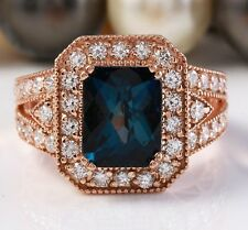 8.10 Carat Natural London Blue Topaz and Diamonds in 14K Solid Rose Gold Ring