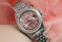 Ladies Rolex 26mm Datejust Pink MOP Mother Of Pearl Dial with Diamond Accent 691