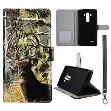 For LG G4 Us991 Wallet Camo Tail Deer Pine Cover Uni Case Split