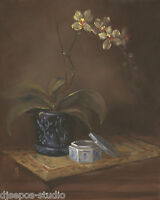 """Orchid With Asian Influences"" Debra Sepos original oil 8"" x 10"" still life"