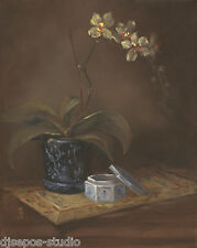 """Orchid With Asian Influences"" Debra Sepos original oil 8"" x 10"" still life"