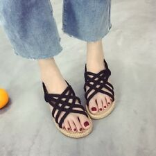 Roma Women¡¯s Summer Flipflop Casual Flat Beach Woven Sole Shoes Sandals Size US