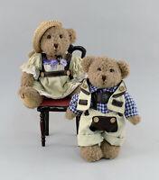 99810208 niedliches Sammler-Teddy Bär Paar auf Stuhl Mitte 20.Jh. L24cm
