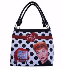 Licensed Lucy Polka Dot Medium Tote Top Zipper Enclose Slip  Zip pocket ffa95d49f24ca