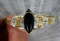 Black Onyx Gemstone Bracelet in Sterling Silver and 14kt Rolled Gold Size 5 to 9
