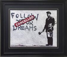 "BANKSY ""Follow Your Dreams "" Newly CUSTOM FRAMED Art Graffiti Street Political"