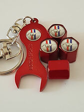 MUSTANG SILVER TOP RED DUST VALVE CAPS & SPANNER ALL MODELS RETAIL PACK