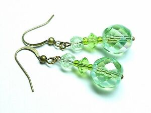 Vintage green AB facetted glass bead drop earrings to match 1950s necklaces