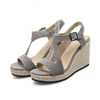 Women Wedge High Heels Buckle Belt Platform Sandals Peep Toe Slingback Shoes Sz
