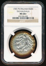 NGC MS68*(STAR GRADED) 1985 FINLAND SILVER MARKKAA > AWESOME EYE APPEAL > NO RSV