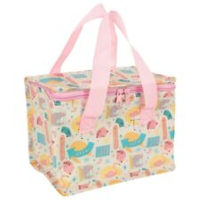 Fun Retro Insulated Pink Cooler Lunch Bag 16x21x13cm Flamingoes Zip & Handles