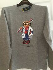 Polo Ralph Lauren 100% Cotton Polo ski bear LS grey Heather Shirt Sz M men NWT
