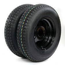 "Set of 2 175/80D13 LRC ET Bias Trailer Tires on 13"" 5 Lug Black Spoke Wheels New"
