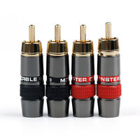 4 Stk Copper RCA Plug Stecker Audio HIFI 8mm Cable Solder Steckverbinder T4
