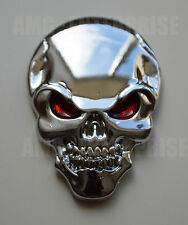 Self Adhesive Chrome 3D Metal SILVER Skull Badge for Chevrolet Matiz Cruze Aveo