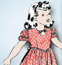 1940s Vintage Hollywood Sewing Pattern 1805 WWII Toddler Girls Keyhole Dress Sz6