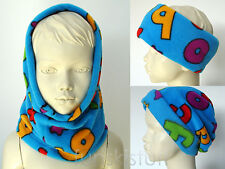 Kids BLUE LETTERS ALPHABET SNOOD fleece neck warmer scarf  hat beanie school ski
