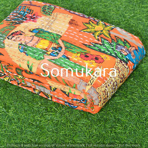 Hand Block Print Kantha Quilt Frida Kahlo Bed cover Throw Indian Women Bedspread